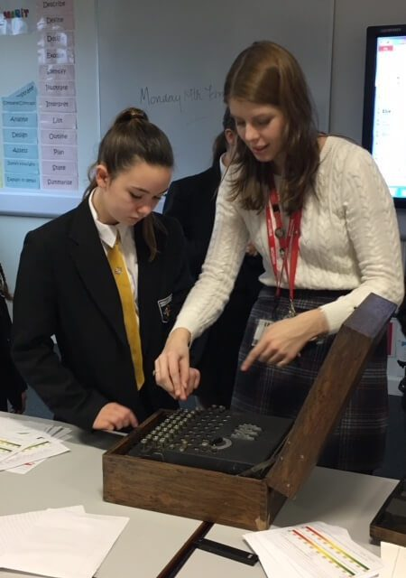Learning how to put you own initials into code on the Enigma machine